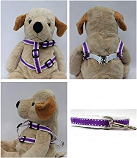 "product image for Diva-Dog 'Preppy Purple' Custom 5/8"" Wide Dog Step-in Harness with Plain or Engraved Buckle, Matching Leash Available - Teacup, XS/S"