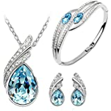 Ocean blue Austrian Crystal Necklace Set Combo with Crystal earrings and elegant crystal bracelet for women at amazon