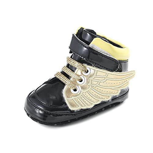 ee6a606ef CiiaoLeoo Wings Shoes Soft Sole Sneakers Ankel Boots for Infant Toddler Newborn  Baby Girls Boys Black