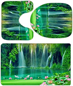Mountain Forest Waterfall Lotus Pond Nature Bathroom Rugs and Mats Sets 3 Piece, Memory Foam Bath Mat, U-Shaped Contour Shower Mat Non Slip Absorbent, Velvet Toilet Lid Cover Washable