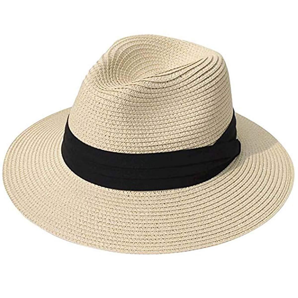 265274bfc7b Sun Hats, Women Beach Hat Fedora Panama Hat Summer Straw Cap Wide Brim  Foldable, Circumference 21 IN