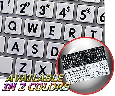 Mac Inglés grandes letras pegatinas de teclado blanco fondo: Amazon.es: Oficina y papelería
