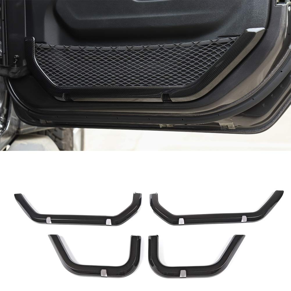 Nkcar ABS Carbon Fiber Car Door Net Decoration Frame 4PCS for Jeep Wrangler JL 2018+(Four-Door)