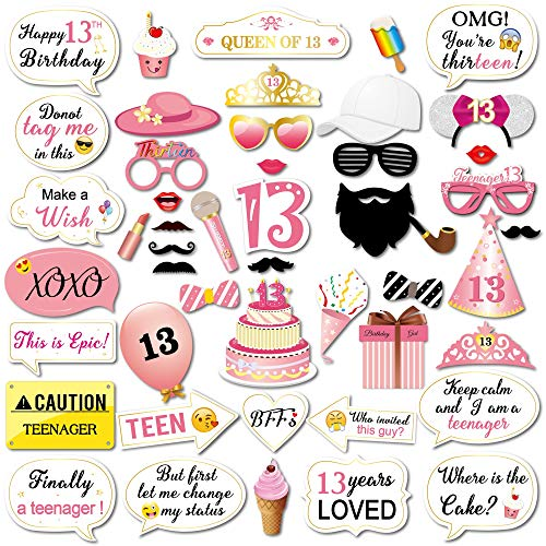 Konsait 13 Birthday Photo Booth Props Party Kit(48Counts), Funny Sweet Chic Thirteen Photo Props with Sticks Pink Decor Great for 13th Happy Birthday Party Favors Supplies for Teenage Girls -