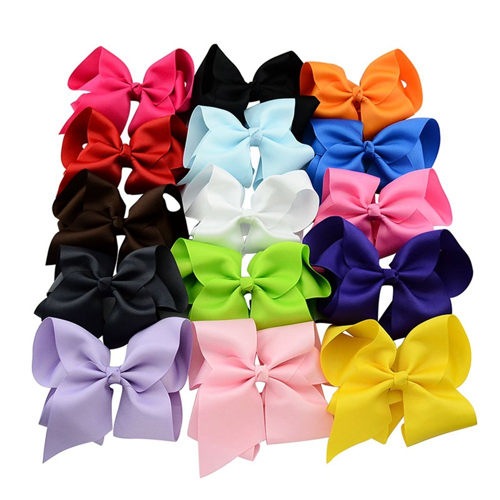 6 Inch Large Baby Hair Bows Barrettes Clip Holders Accessories For Toddler Girls 15 pcs by YHXX YLEN (Image #3)