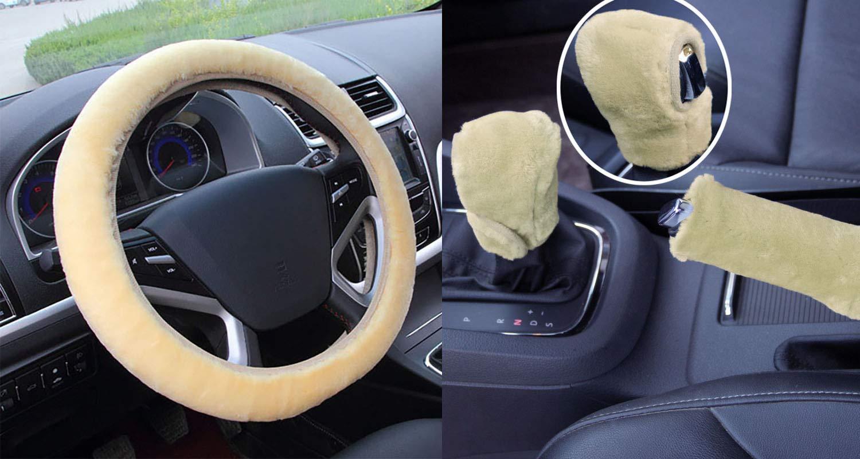 Set 3 pezzi Coprivolante peluche Coperchio freno a mano in lana sintetica Fodera per auto Copridivano per auto Coprisedili per auto Accessori interni black for Automatic Catch
