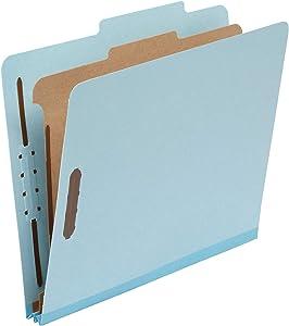 "AmazonBasics Classification Folder- 100% Recycled, 1 Divider, 2"" Embedded, Letter, Light Blue, 10 per Box"