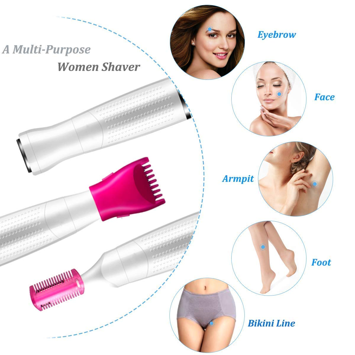 Bikini Trimmer for Women, 3 In 1 Ladies Electric Shaver Painless Hair Removal Kit