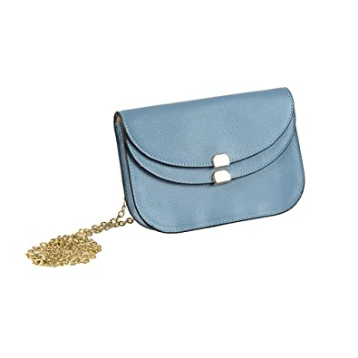 9df15cf197ed Leather Crossbody Bags for Women s Shoulder Handbag with Detachable Gold  Chain Bag Clutch (Blue)