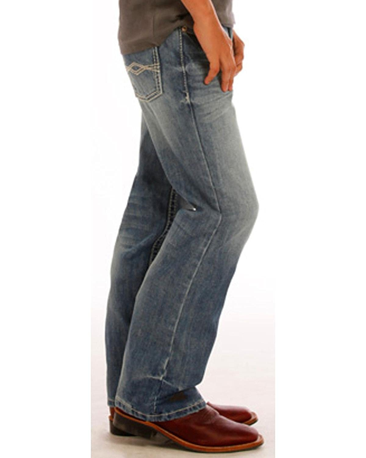 Rock /& Roll Cowboy Boys and Blue A Embroidery Jeans Boot Cut Bb-1468