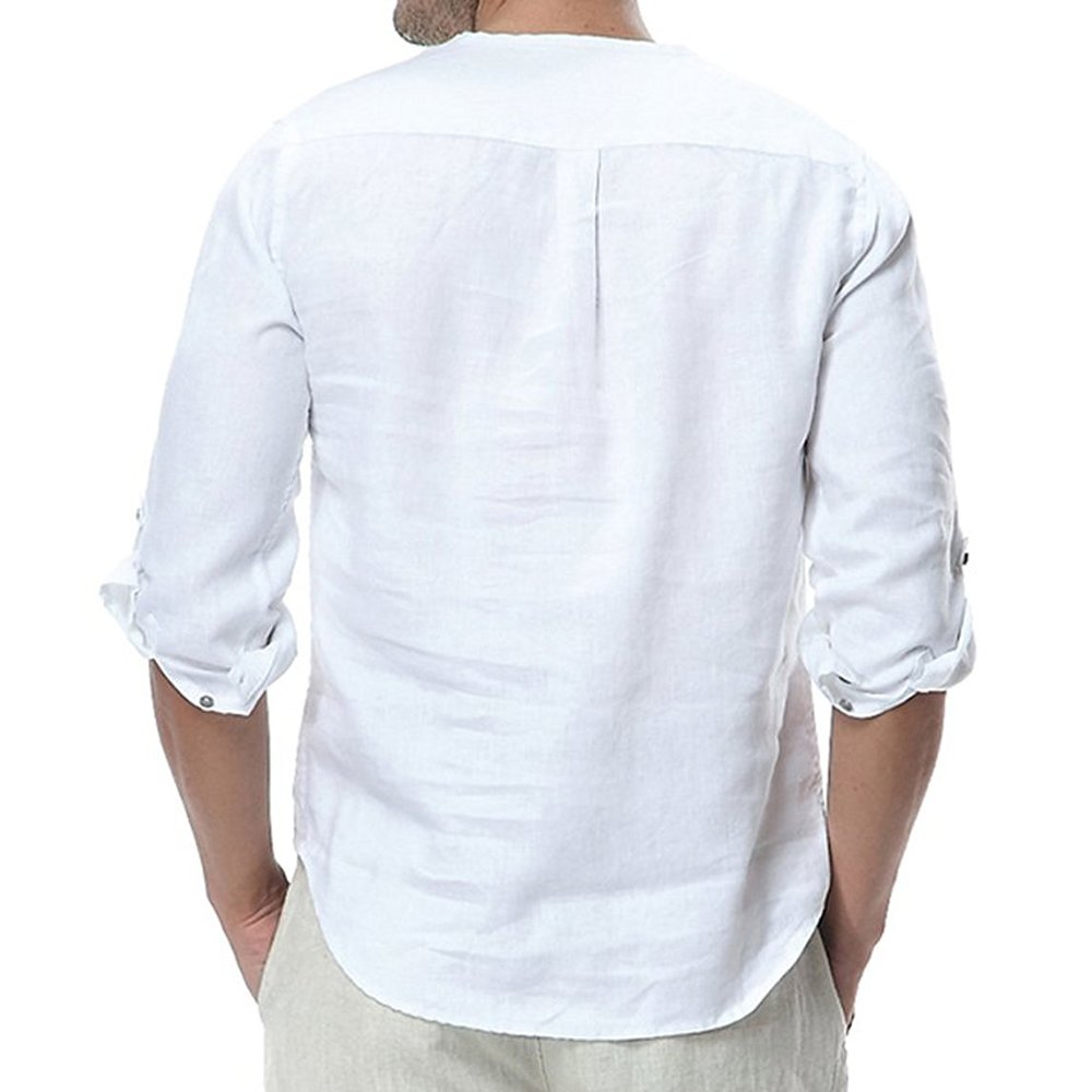 Mens Henlry Shirts Linen Cotton 3/4 Sleeve Summer Casual Beach T-Shirts by EastLife (Image #2)