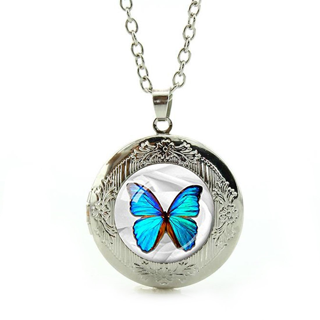 Women's Custom Locket Closure Pendant Necklace Morpho Butterfly Blue Butterfly Included Free Silver Chain, Best Gift Set