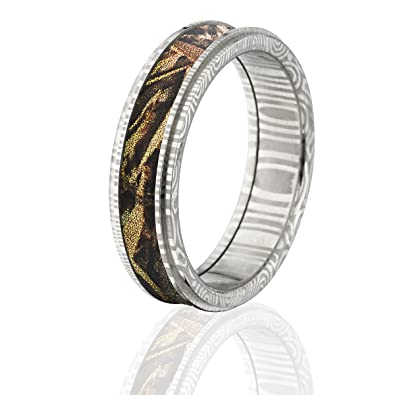 Damascus Steel Camo Rings Camo Wedding Rings Realtree Max 5