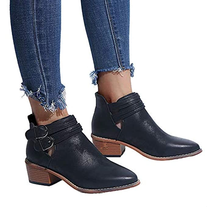 cb40c6e20684 WuyiMC Womens Low Chunky Heel Booties - Women Casual Classic Buckle Ankle Boots  Shoes Black