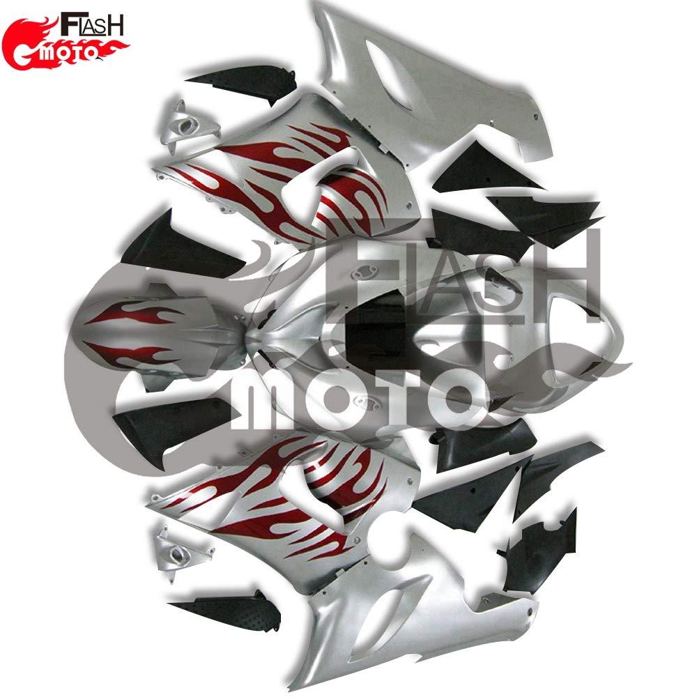 FlashMoto kawasaki 川崎 カワサキ ZX6R ZX-6R Ninja 636 2005 2006用フェアリング 塗装済 オートバイ用射出成型ABS樹脂ボディワークのフェアリングキットセット (シルバー,レッド)   B07L89CTGC