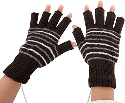1 Paire USB Gants Chauffants Femmes Hommes moufles d/'hiver Mains Chaudes Portable Noir