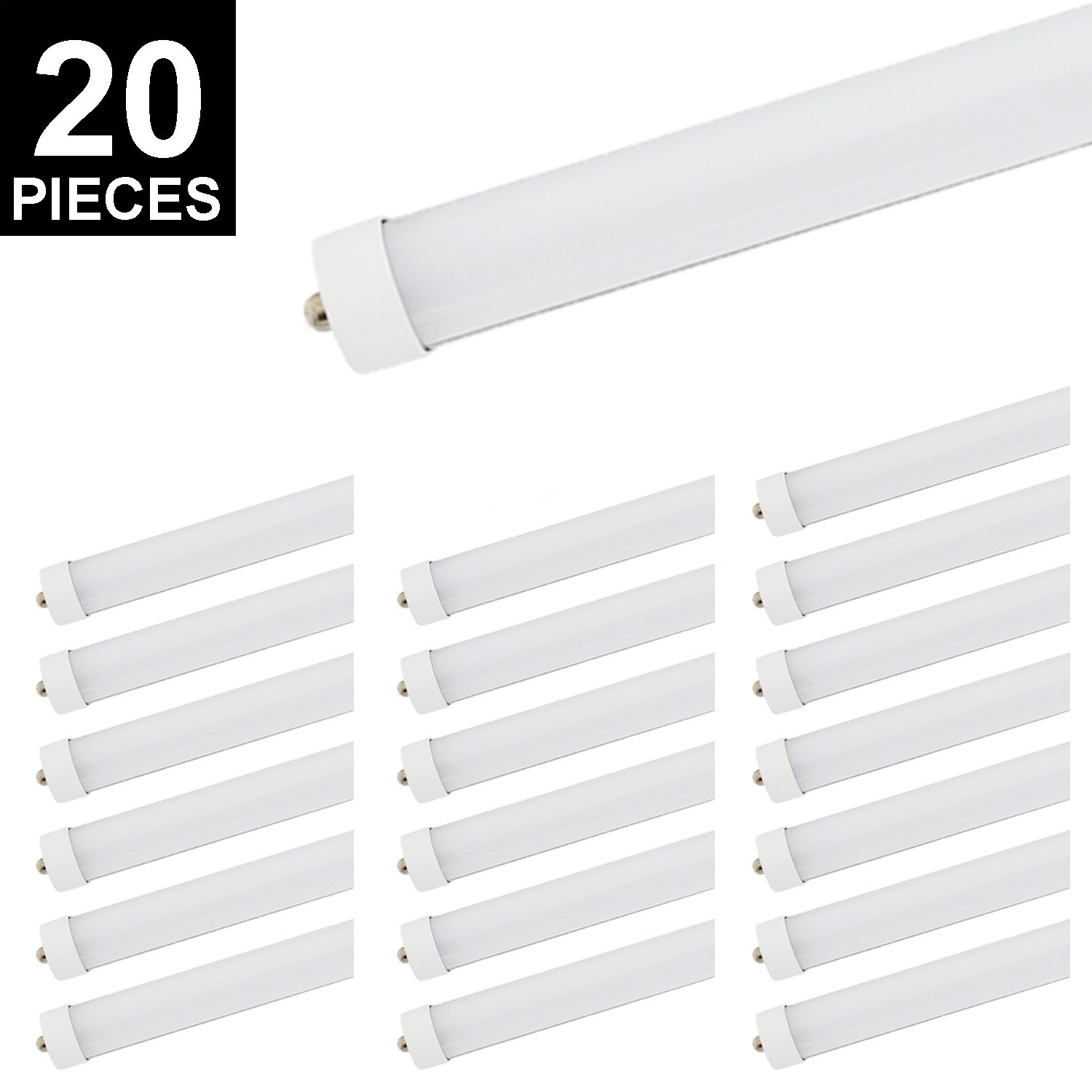 20Pack 8ft T8 LED Tube, CNSUNWAY LIGHTING 45W 96'' FA8 Single Pin Light Bulb 6000K Cool White 4800LM Lamps (20, Frosted Cover)