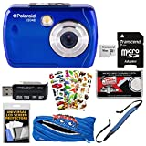 Polaroid iS048 Waterproof Digital Camera (Blue) with 16GB Card + Monstar Case + Strap + Puffy Stickers + Kit