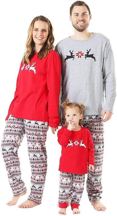 Family Pajama Christmas Matching Set Reindeer Sleepwear Pants Dad Mom Kid Outfit