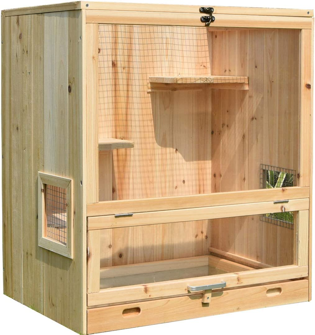 · Indoor Small Animal Cage Wooden - Ferret Chinchilla House Multi Storey with Glider Pet Home for Hamsters Dimension - L 25.3 W 18.5 H 29.1 Inches Habitat