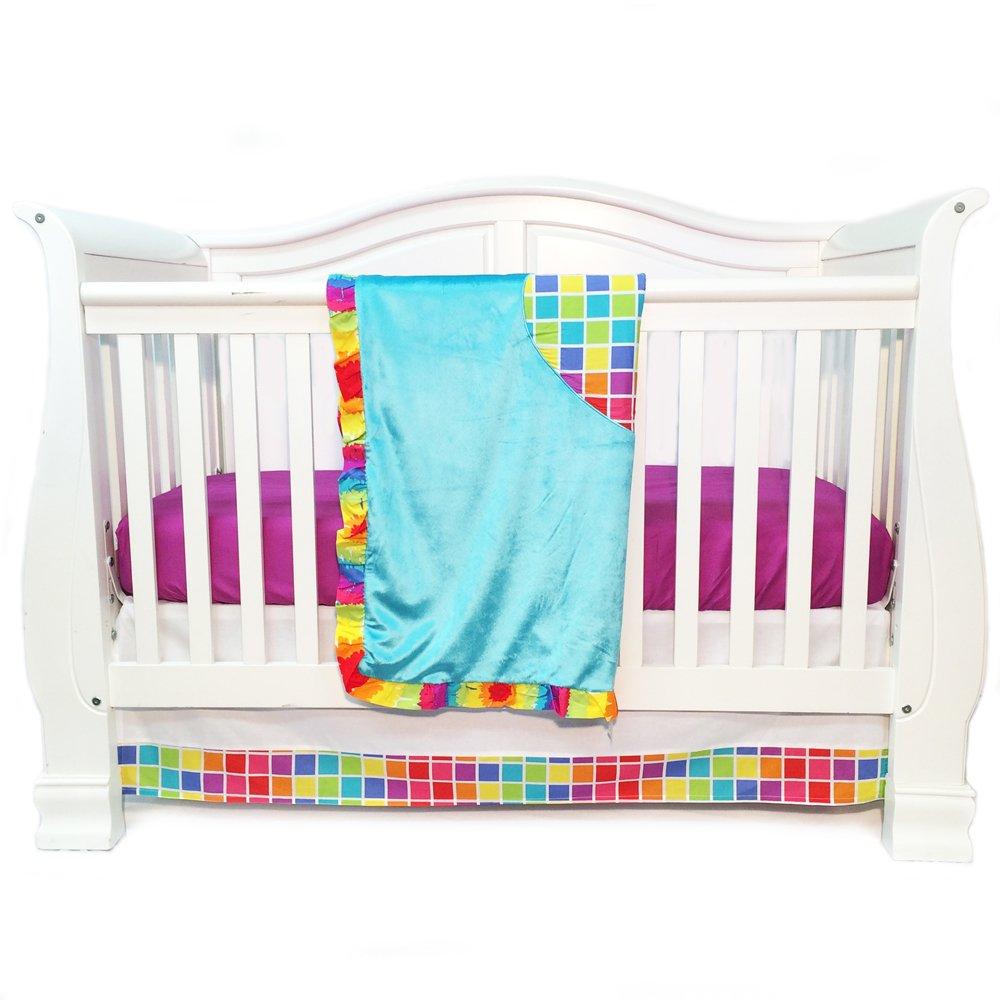 One Grace Place Terrific Tie Dye Infant Crib Bedding Set, Aqua Blue/Royal Blue/Pink by One Grace Place   B00CXB2E6C
