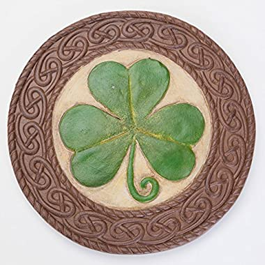 Bits and Pieces - Shamrock Garden Stone - Give the Gift of Luck - Hand Painted Outdoor Garden Décor with Intricate Celtic Knotted Border