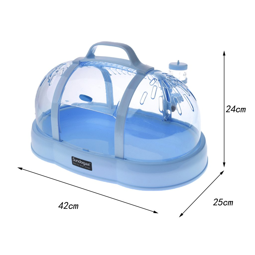 MagiDeal Portable Hamster House Travel Carrier Small Animal Crystal Cage Random color