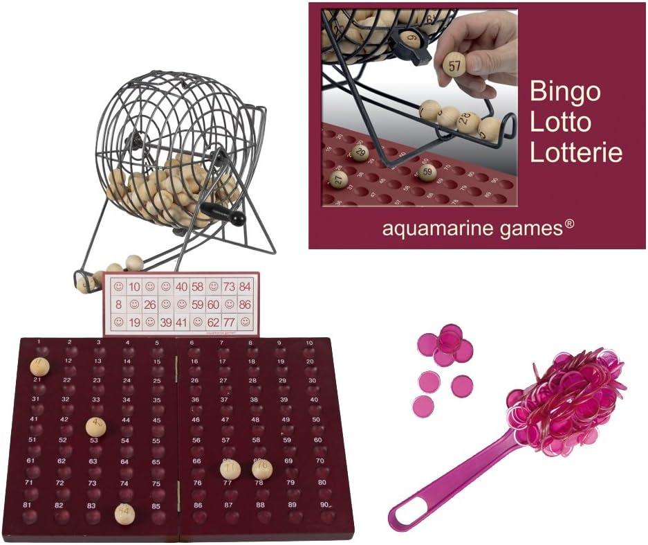 Outletdelocio Loteria-Bingo, Madera y Metal. 90 Bolas de Madera Maciza. Incluye Regalo fichas magneticas de Recogida rápida. 51894/39582