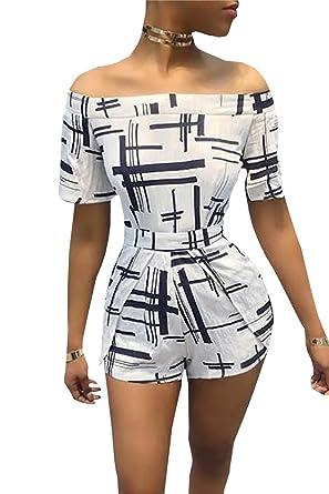 022c2a15e1 Amazon.com  Farktop Women s Printed Tie Back Off Shoulder Black and White  Playsuit One Piece Short Jumpsuit Romper  Clothing
