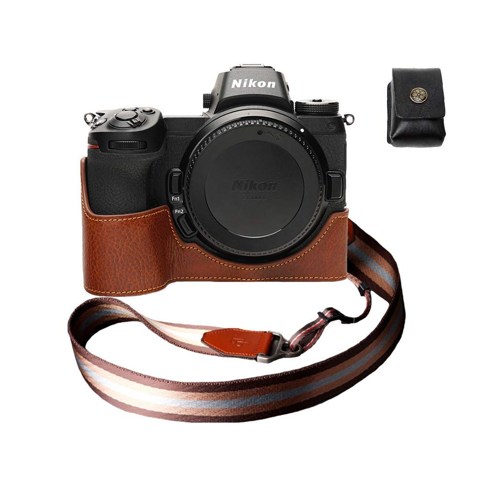 ニコン Z7 Z6 本革カメラケース バッテリー交換可能タイプ ブラウン B07S18VS7H ブラウン 本革カメラケース+ショルダーストラップTP1881&バッテリーケース