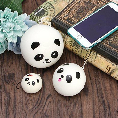 Hacloser Cute Foam Panda Head Squishy Steamed Bun Bag Phone Pendant Lanyard Keychain Kid Toy Gift (Diameter: 9cm(3.54in))