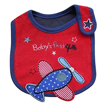 Babero impermeable para bebés con dibujos rojo Airplane ...
