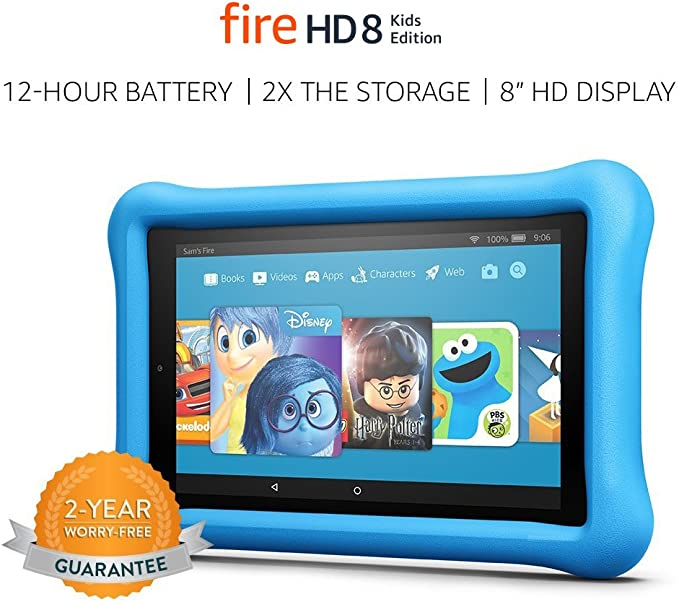 """Amazon.com: Fire HD 8 Kids Edition Tablet, 8"""" HD Display, 32 GB, Blue Kid-Proof Case (Previous Generation - 7th): Kindle Store"""