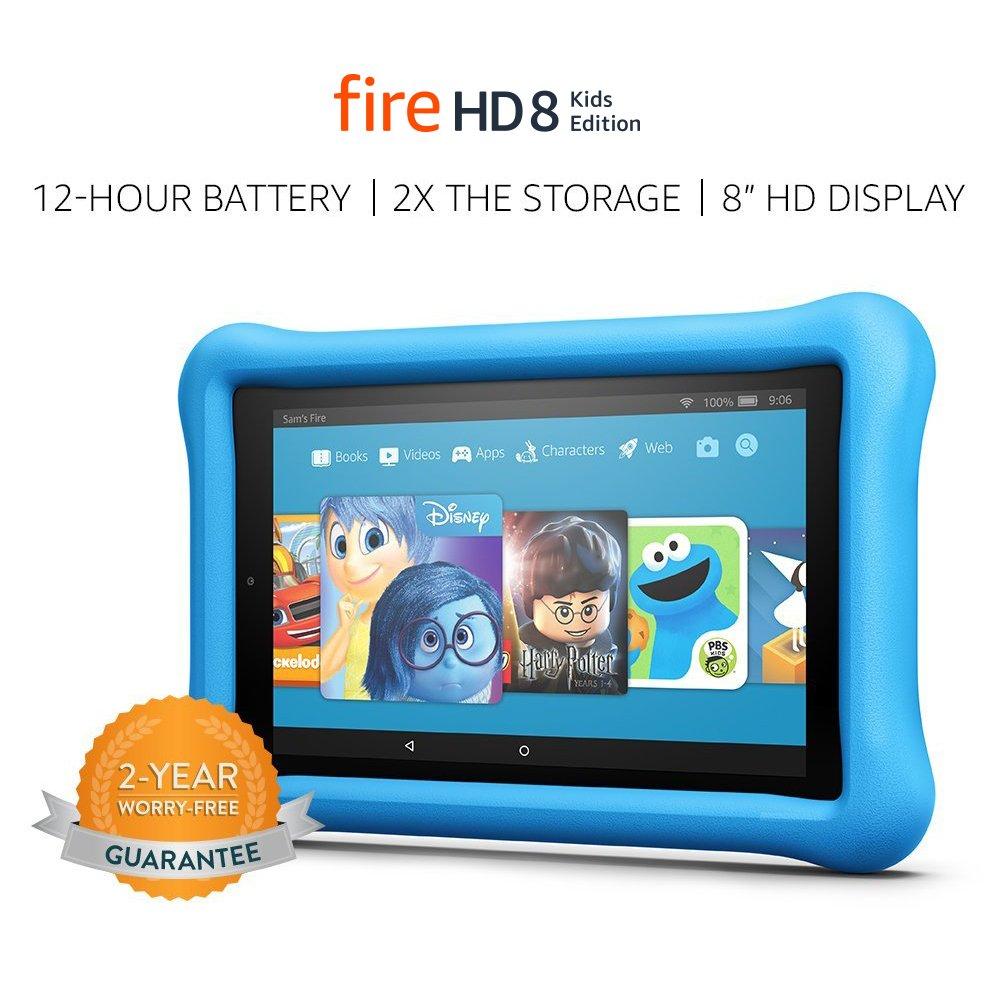 Fire HD 8 Kids Edition Tablet, 8' HD Display, 32 GB, Blue Kid-Proof Case