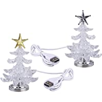Uonlytech Acrylic Christmas Tree Night Light USB Colorful Glowing Desktop Lamp LED Night Light Christmas Decoration for Baby Room Bedroom Home Party 2pcs (Golden Silverシ