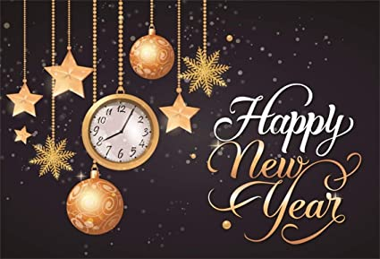 leyiyi 7x5ft 2019 happy new year backdrop clock vintage eve party bokeh halo banner snowflake glitter