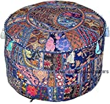 Americana decor's Bohemian Patchwork Ottoman Cover vintage Traditional indian pouf cover ''14x22'' cotton decorative chair ''Filler Not Inculded'' (Blue)