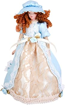 CASA delle Bambole Vittoriana Signora in blu vestito in miniatura Persone porcellana