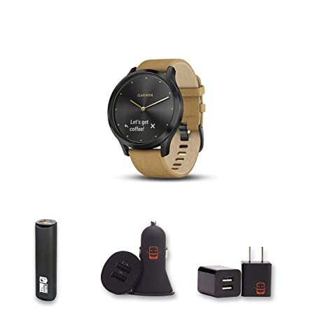 E Zee Electronics Garmin Vivomove HR Premium Onyx Black w Suede Small Medium Hybrid Smartwatch Bundle with PowerBank USB Car Charger USB Wall Charger 4 Items