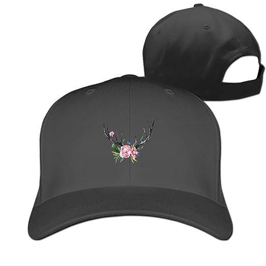 0e112049436f1 Kefanlk Deer-Horns Printed Sandwich Baseball Cap for Unisex Adjustable Hat