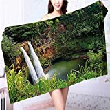 Miki Da 100% Premium Quality Bath Towel Twin Wailuas Kauai Hawai Greenery Grass Scenic View Green Soft & Absorbent L39.4 x W19.7 INCH