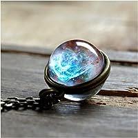 Symboat Collier Necklace Pendentif boule de verre double face bijou univers collier étoile chaîne bijoux cadeaux