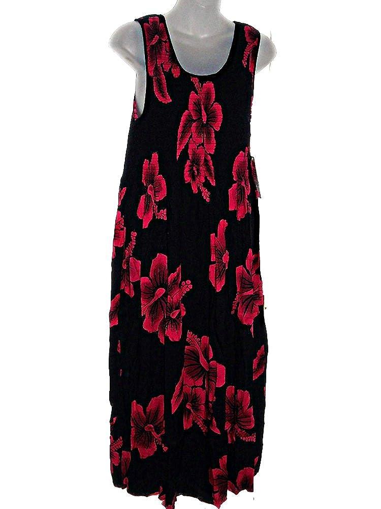 428dac40b0749f PLUS SIZE HAWAIIAN PINK HIBISCUS TANK TOP LONG SUN DRESS CRUISE LUAU  (Xl-2X) at Amazon Women's Clothing store: