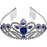 Wedding Prom Bridal Crown Rhinestone Crystal Tiara Princess Headpieces Girls Tiara Accessory With Comb (Silver & Blue)