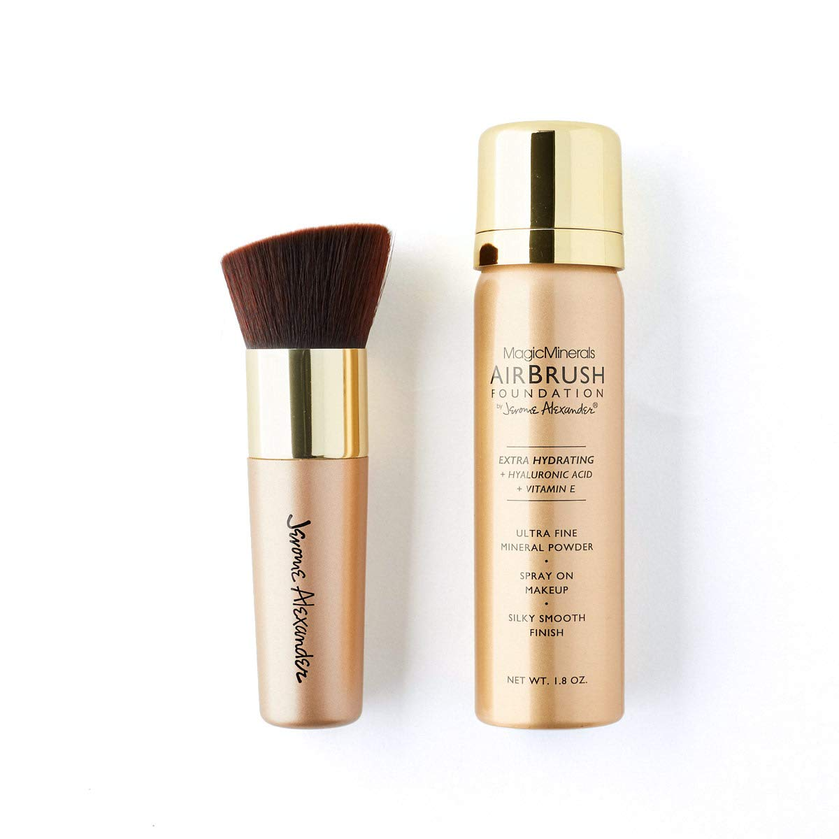 MagicMinerals AirBrush Foundation by Jerome Alexander – 2pc Set with Airbrush Foundation and Kabuki Brush - Spray Makeup with Anti-aging Ingredients for Smooth Radiant Skin (Gold Edition: Medium)