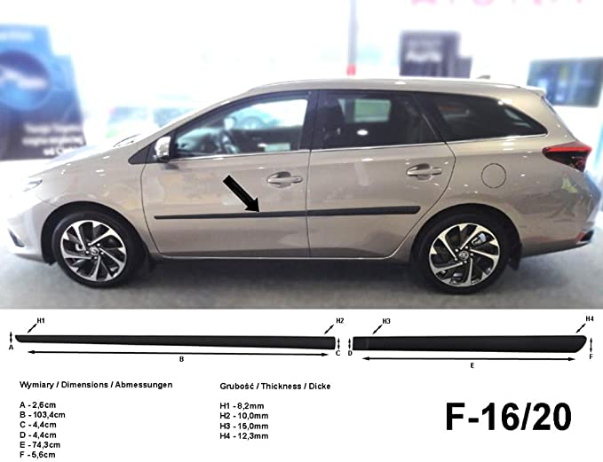 Spangenberg Seitenschutzleisten schwarz f/ür Toyota Auris Touring Sports Kombi vor Facelift Baujahr 07.2013-05.2015 F16//20 370162010
