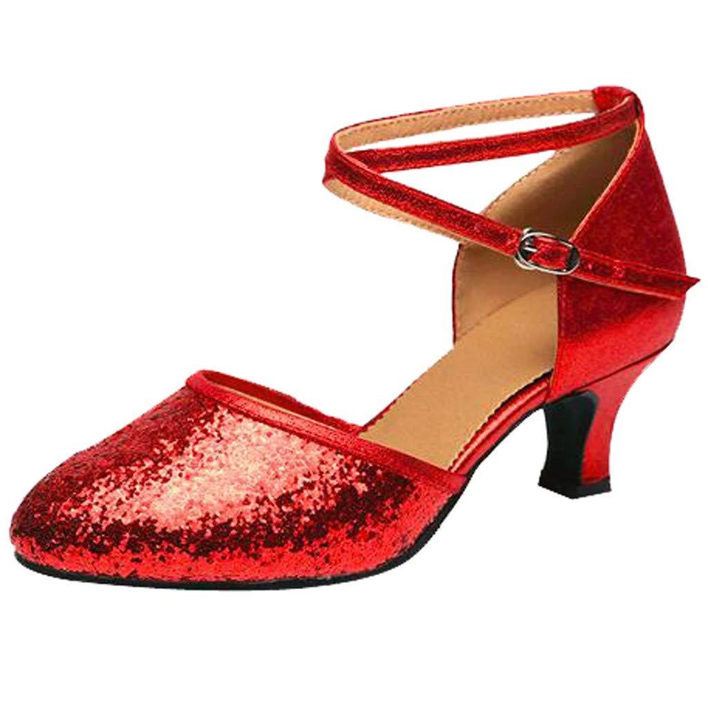 Garish  Women's Shoes Spike Heels Shallow Fashion Casual Rumba Waltz Prom Ballroom Latin Salsa Peep Toe Shoes Red