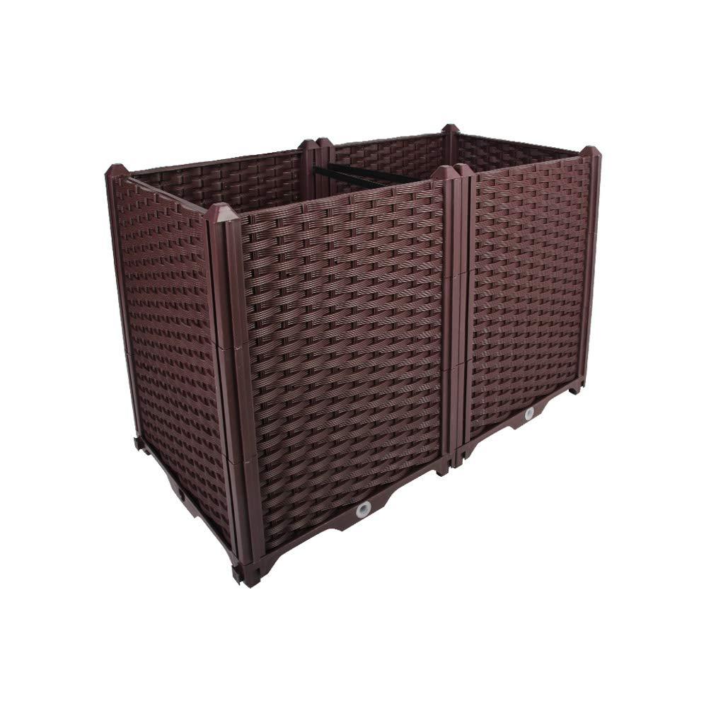 BAOYOUNI Rectangular Raised Garden Bed Kit Indoor Outdoor Plastic Planter Grow Box for Fresh Vegetables, Herbs, Flowers & Succulents, Brown, 30.7'' x 15.35'' x 20.47''
