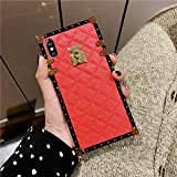 for Samsung Galaxy A20 / A30 Grid Plaid Case,SelliPhone Luxury Diamond Skin Design Cute Slim Gold Square Protection Corner Trunk Back Case for Man Women Girl Phone Skin,Red
