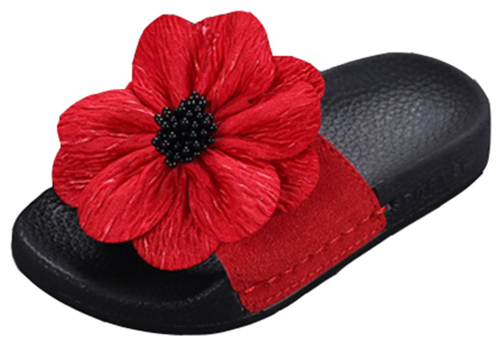 VECJUNIA Girl's Sandal Slipper with Flower Soft Sole Non-Slip Summer Casual Shoe (Red, 12 M US Little Kid)